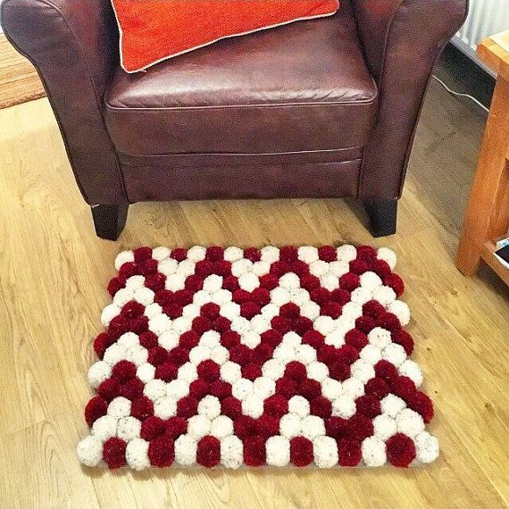 Pompom rug doormat red and cream chevron design by