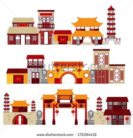 chinatown - stock vector