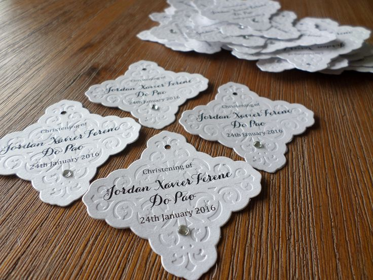 Embossed favour tags for a Christening.  Created by Eternal Stationery www.eternalstationery.com.au