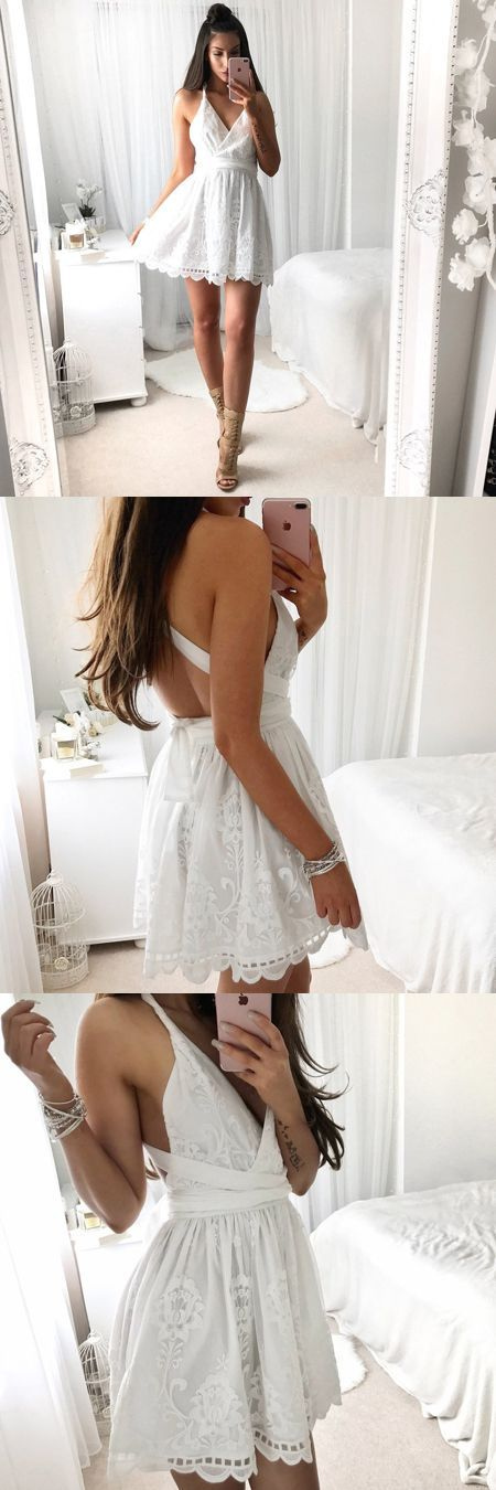 homecoming dresses, short backless prom dresses, chic white lace party dresses, hoco dresses 2017