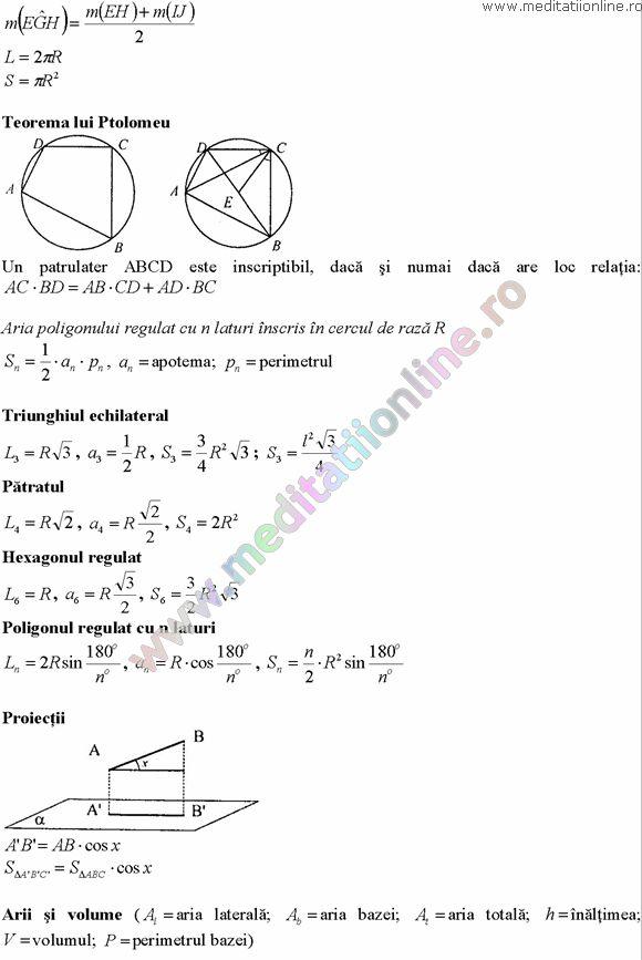 Formule matematica gimnaziu 5 8 Formule si teorie Geometrie plana si in spatiu si Trigonometrie pagina 11