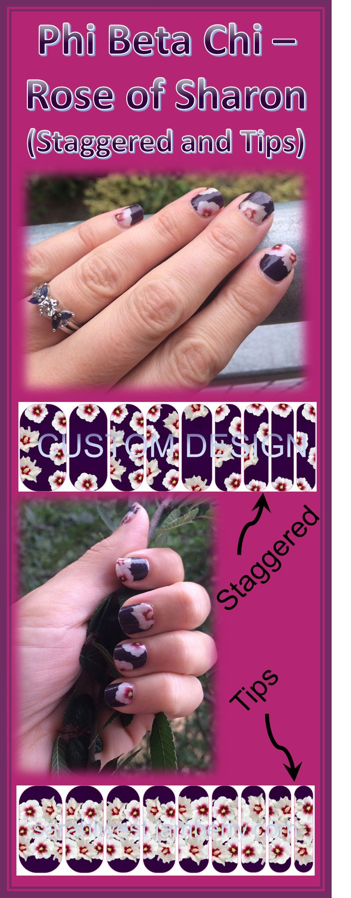 """"""" Phi Beta Chi - Rose of Sharon"""" Jamberry custom nail wraps. A deep purple base with white Rose of Sharon flowers. You can choose from staggered flowers or flowers on the tips only."""