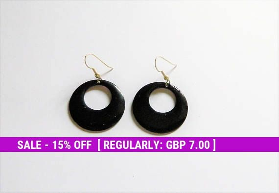 Black enamel earrings, glossy gift, handmade jewellery for Mom, jewelry vitreous enamel, present for her birthday, wife anniversary presents