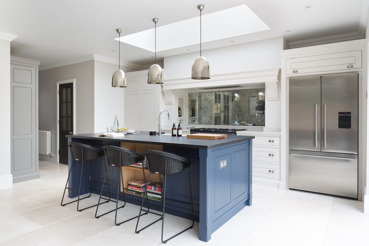 Contemporary Family Kitchen, Chelmford, Essex - Humphrey Munson Kitchens - Dark blue island, grey cabinetry, metallic lighting