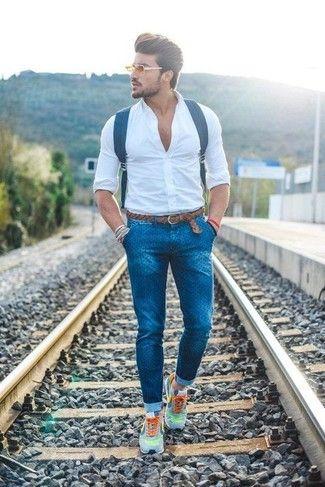 Men's White Dress Shirt, Blue Polka Dot Skinny Jeans, Grey Athletic Shoes, Navy Leather Backpack