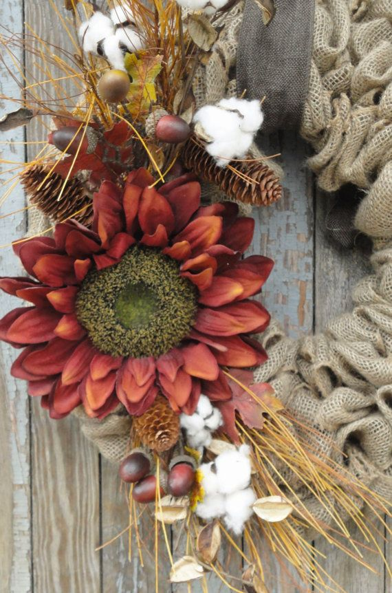 Sunflower Burlap Wreath Fall Burlap Wreath by WhimsyChicDesigns