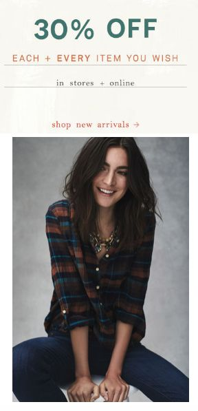 Black Friday weekend - 30% off EVERYTHING (even furniture) at Anthropologie
