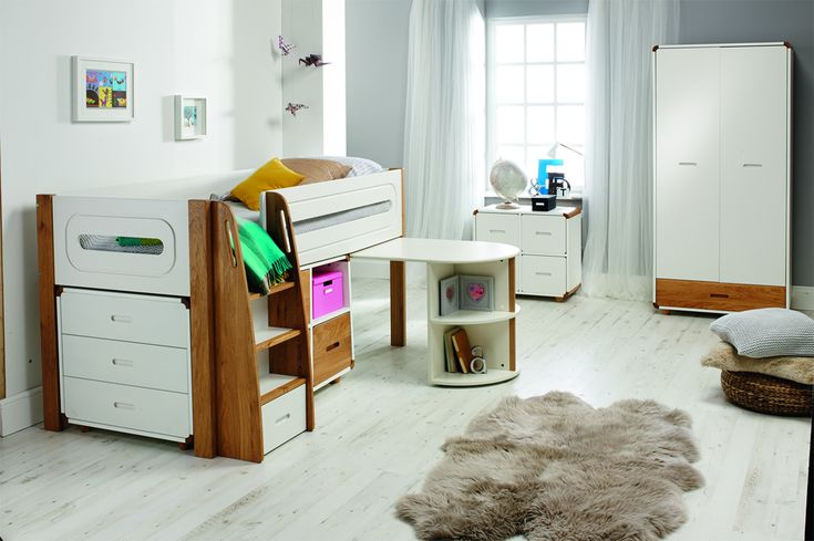 Stompa Radius Midsleeper with Pull Out Desk, Chest and Cube Unit (Oak Doors)