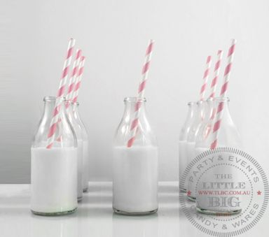 Mini Glass Milk drinking Bottles - got these for Max's party. Love 'em