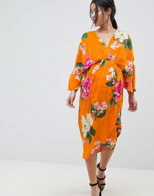 af0e121f74787 ASOS Maternity | ASOS DESIGN Maternity kimono midi dress in bold floral  jacquard #maternityfashiondresses