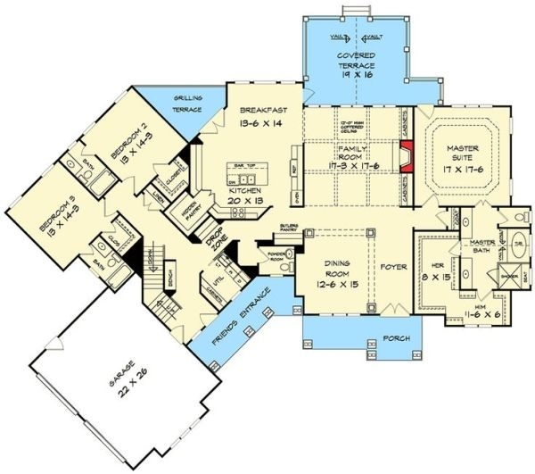 Angled Craftsman House Plan - 36029DK | Craftsman, Mountain, Northwest, 1st Floor Master Suite, Bonus Room, Butler Walk-in Pantry, CAD Available, PDF, Split Bedrooms, Corner Lot | Architectural Designs by sophie