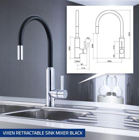 Vixen Retractable Sink Mixer Black