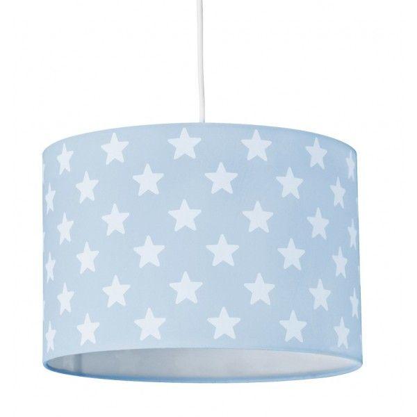 Lampadario azzurro con stelline.