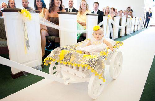 ways to walk infant flower girl down the aisle | flower girl wagon