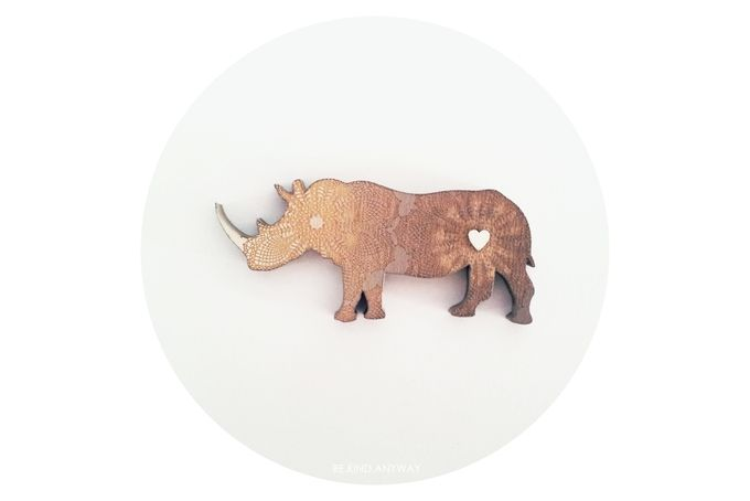 Mr. Rhino Brooch [Stone] by LANDI KUHN Functional Art & Design on hellopretty.co.za
