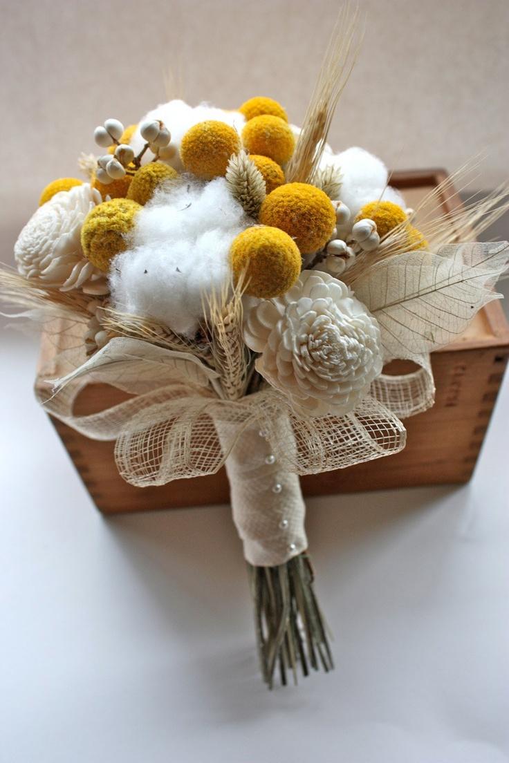 Cotton, billy balls, and skeleton leaf bouquet - love!