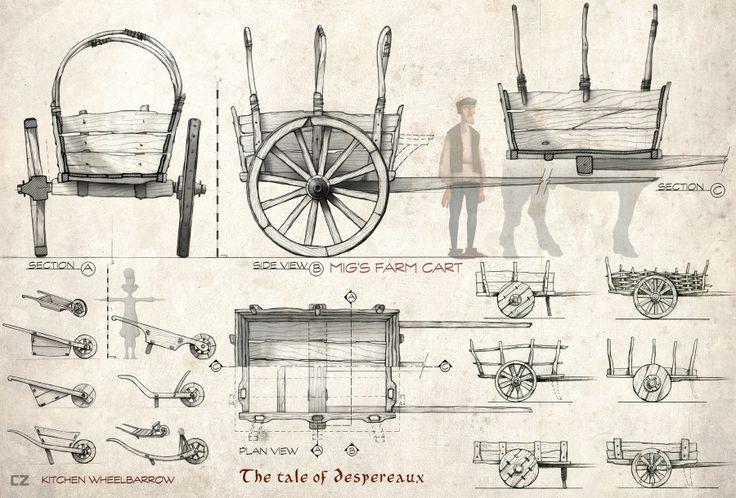 carlos zaragoza ▪ visual storytelling - THE TALE OF DESPEREAUX / 2008 /Universal Animation Studios / Orthographics Artist Carts & wheelbarr...