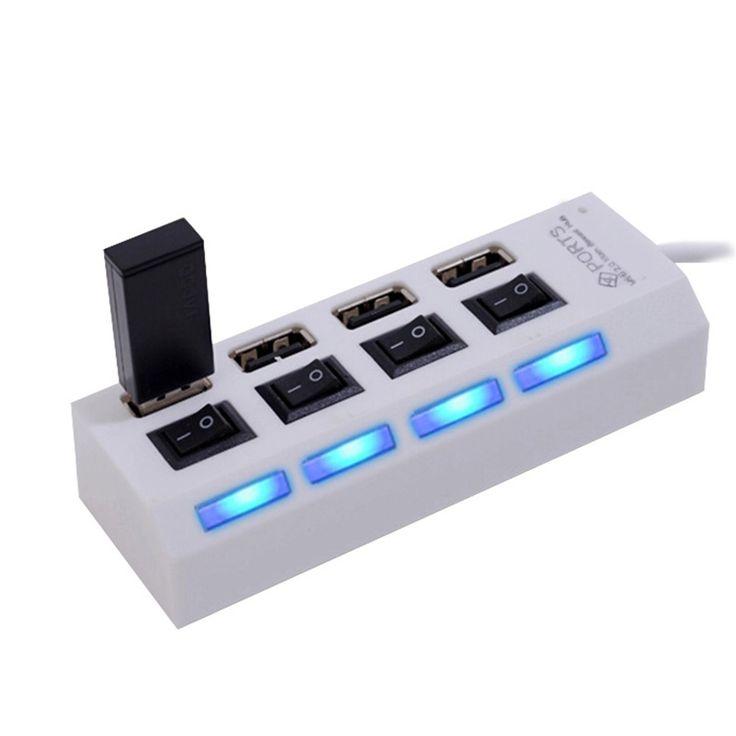 Mini Haute Vitesse USB 2.0 Hub 4 Ports Portable USB Hub 480 Mbps Sur/Off Hub USB Splitter Adaptateur Pour PC Portable