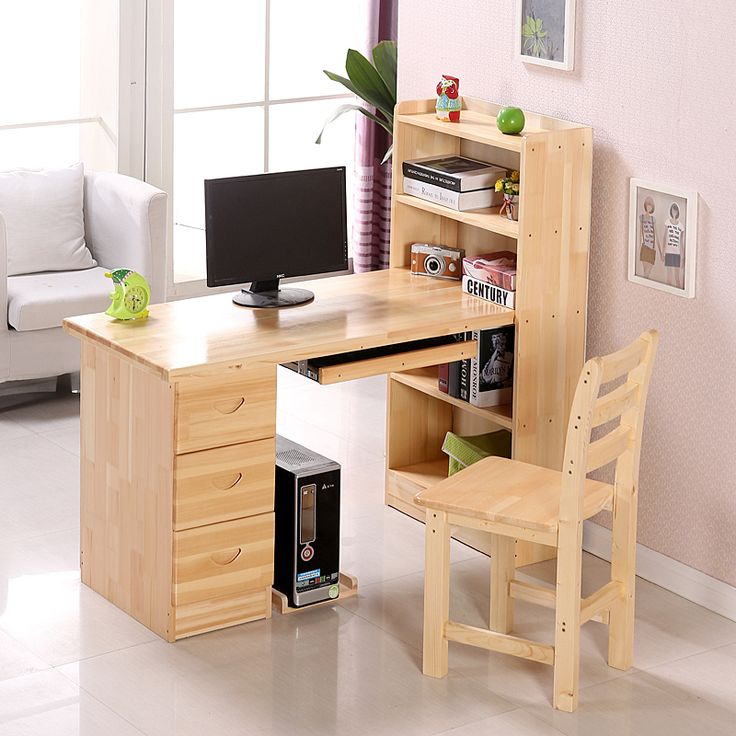 solid pine wood computer desk