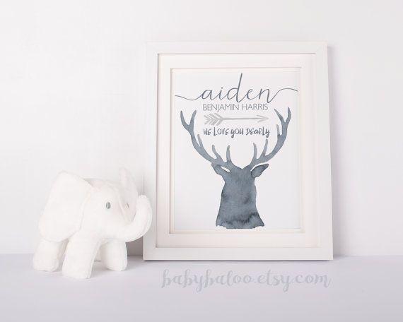 Baby Boy Nursery Art, Woodland nursery, Deer Nursery Art, Personalize, Steel grey blue Nursery, Print Decor, Unframed, printable watercolour