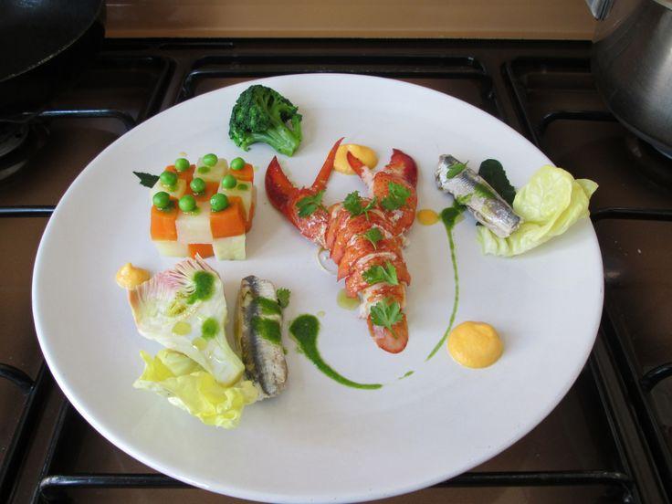'1'Insalata di astice   verdure  alici  e   mayonese di carota  Gino D'Aquino