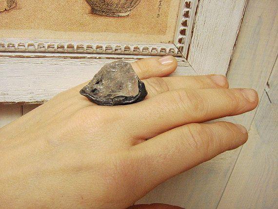 Kwarts Raw Crystal Ring Raw Quartz Ring Crystal Ring Raw
