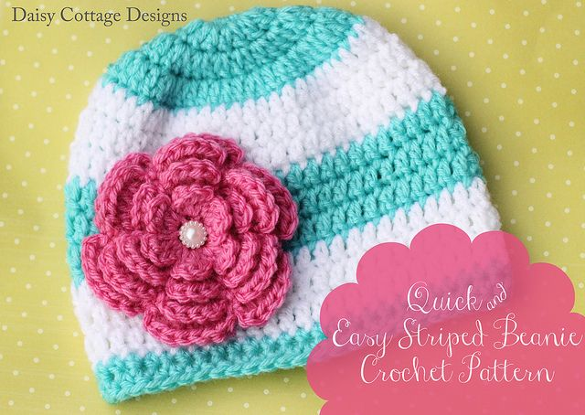 Striped Beanie Hat Pattern text by Daisy Cottage Designs - might be a quick one to make one day...