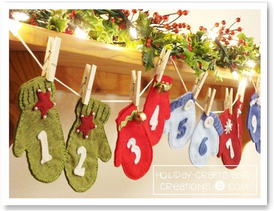 Super Cute Felt Mitten Advent Calendar! Three different mittens make this super cute... faster than knitting...