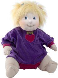 This beautiful baby has blonde hair, blue eyes,