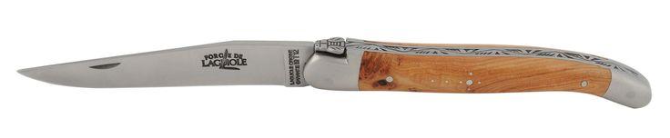 Couteau traditionnel Forge de Laguiole, manche en genévrier, fabriqué au sein de la manufacture dans le village de Laguiole