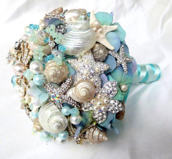 Sea Shell Wedding Bouquet, Tiffany Blue Bridal bouquet, Beach Bridal Bouquet, Brooch Bouquet