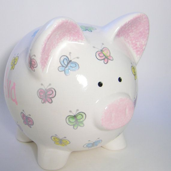 Pastel #Butterfly Personalized Ceramic #PiggyBank  by #ThePigPen, $42.50