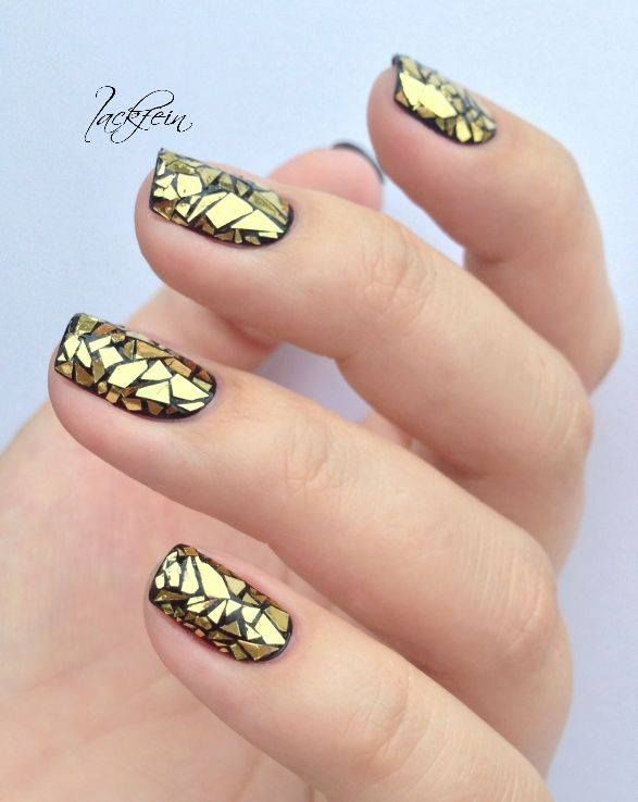 Gold on Black Nail Art