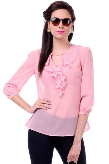 Frill Sleeves Pink Top - SASSAFRAS Tops and tunics for women |  buy tops and tunics online in indium