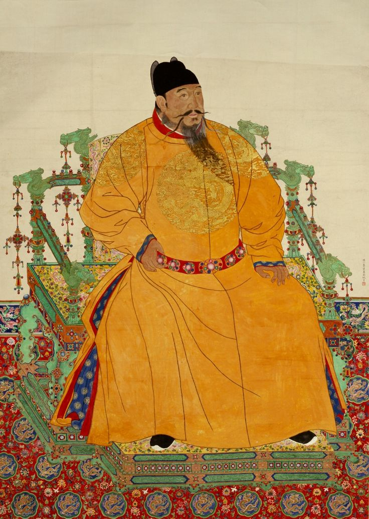 Chinese zhu di ming dynasty yongle emperor ink and colour for Dynasty mural works