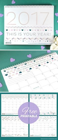Keep track of life's special moments and feel inspired with this #freeprintable #2017calendar that features motivational #quotes. See more designs and download your favorite calendar on our blog!