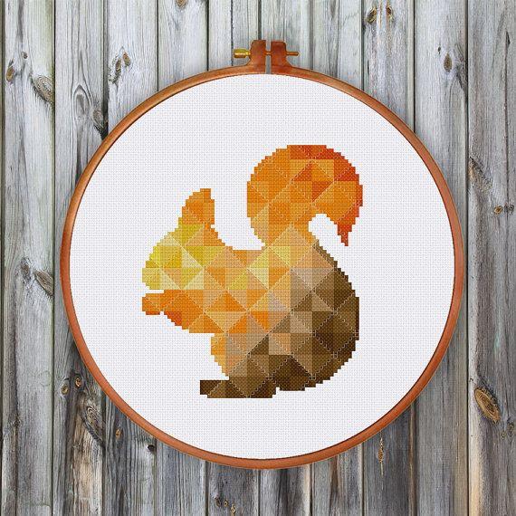 Geometric Squirrel cross stitch pattern Cute modern by ThuHaDesign