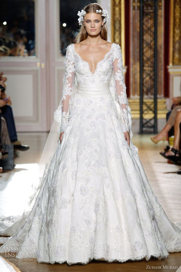 Couture Gowns | zuhair murad fall 2012 couture wedding dress lace long sleeves