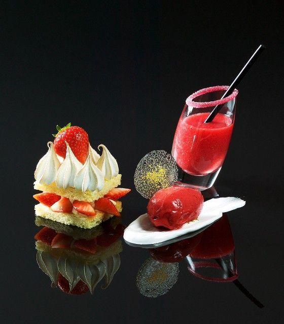 Brioche aux fraises, jus de fraise, sorbet de fraise Frères Pourcel