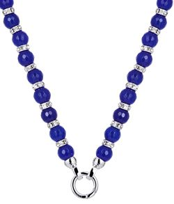 NECKLACE KAGI SAPPHIRE LUXE, FACETED BLUE JADE, CLEAR CRYSTAL GLASS SPACERS, 5 MICRON SILVER PLATED 316L STAINLESS STEEL 49CM (10MM GEMS) - Jons Family Jewellers