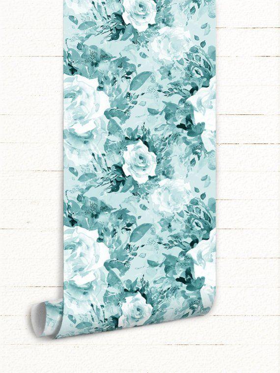 Aqua Flowers Removable Wallpaper Blue Wall Mural For Interior Decoration Aquadecor Homedecor