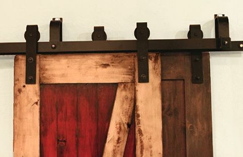Barn door hardware double track ideas for the house for Dual track barn door hardware