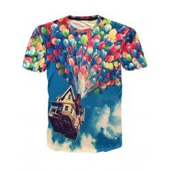 Round Neck Colorful Fire Balloon Print Short Sleeves 3D T-Shirt For Men - Xl Short Fashion