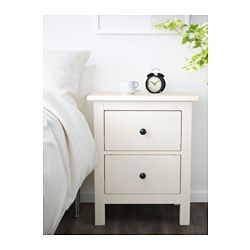 IKEA - HEMNES, 2-drawer chest, white stain, , Made of solid wood, which is a durable and warm natural material.The drawer insert is perfect for small things.Smooth running drawers with pull-out stop.Can also be used as a nightstand.