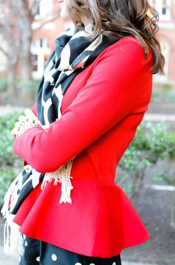 leopard scarf paired with a red peplum blazer