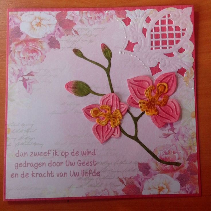 Christian card. Marianne design orchid flower and corner die. Distress ink