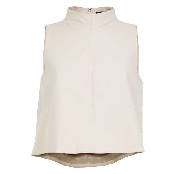 Tibi Agathe Funnel Neck Top found on Polyvore featuring tops, shirts, crop top, blouses, neutrals, sleeveless tops, shirt crop top, no sleeve shirts, beige top and funnel neck top