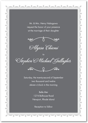 sweet gray wedding invitation