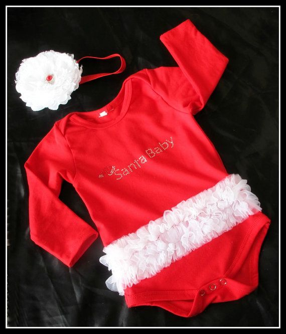Christmas red tutu bodysuit Baby romper by TheBabyBellaBoutique