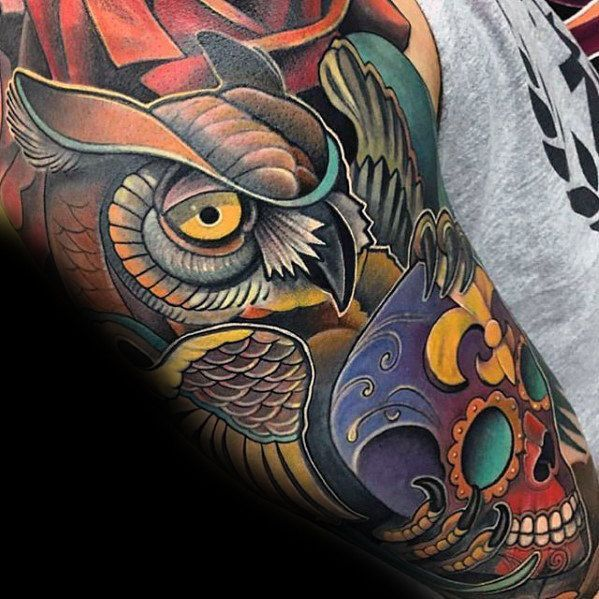 Colorful Day Of The Dead Guys Modern Owl Sleeve Tattoos Owl Tattoo Sleeve Traditional Owl Tattoos Tattoos For Guys